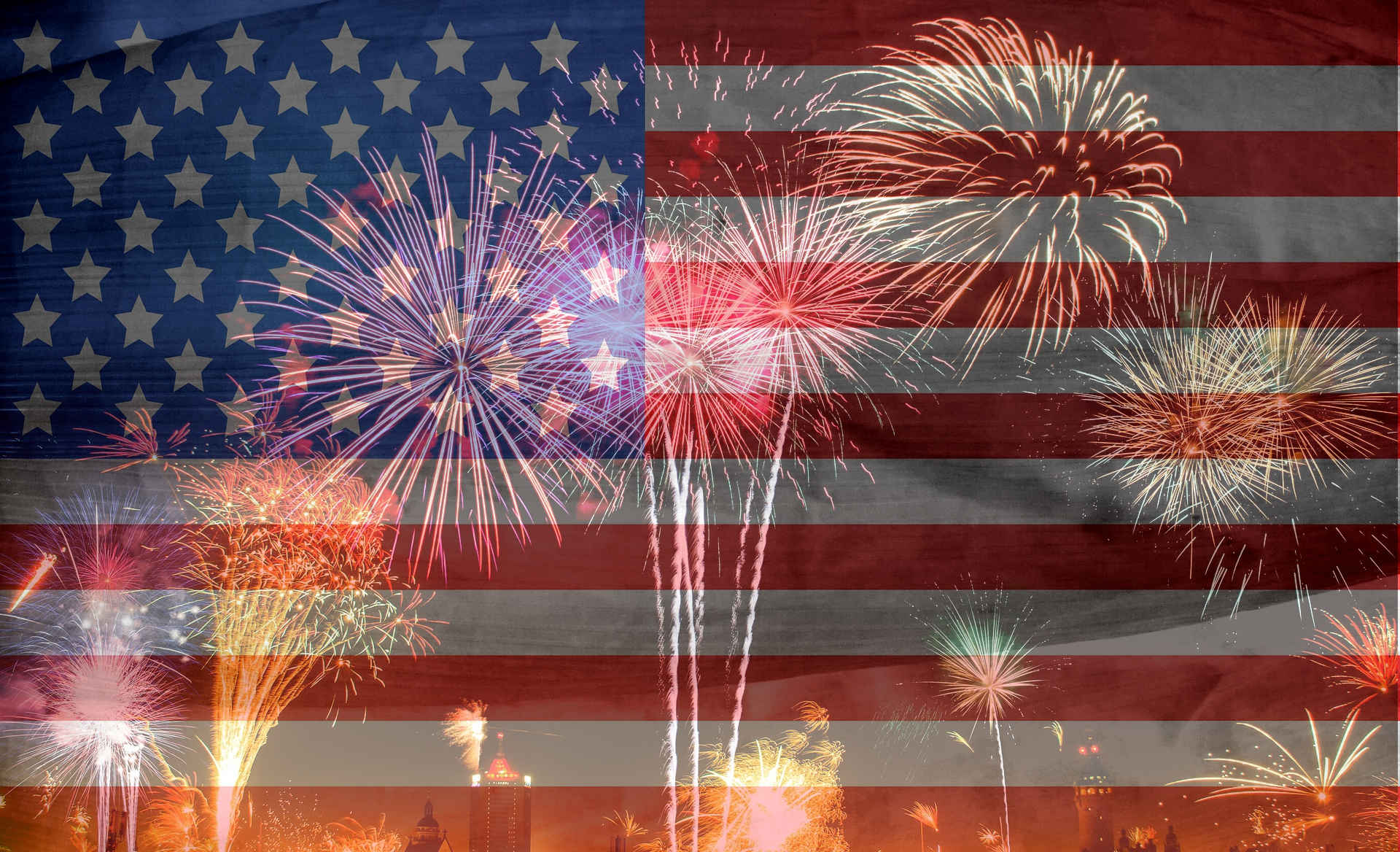 Photo of Flag with Fireworks Superimposed